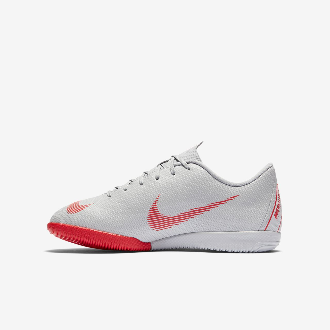 Ghete Fotbal Nike Jr. MercurialX Vapor XII Academy Just Do It IC Fete Gri/Platină/Metal Argintii/Ros